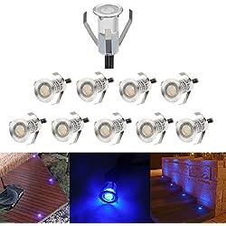 Lot of 10 Mini Ø18mm Spots Led Encastrable Extérieur Eclairage LED sous Sol, Acier inoxydable IP67 DC12V 0.4W Décoration Lumière pour Terrasse Jardin, Bleu