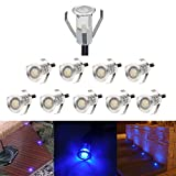 10er Set Bodeneinbaustrahler Aussen Ø18mm 0.4W Mini Blau Treppen Einbaustrahler IP67 Wasserdicht LED Außen Lampe Terrasse Boden Einbauleuchten