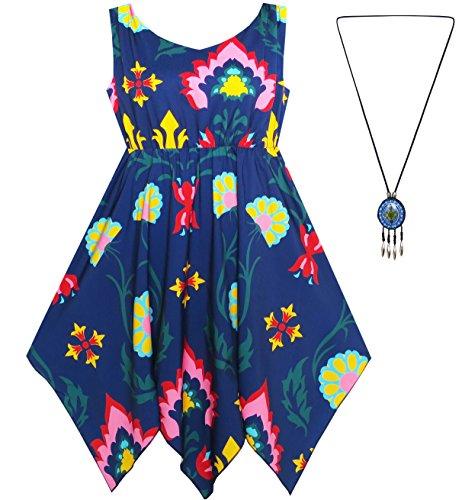 Mädchen Kleid Blume Drucken Taschentuch Saum Mit Halskette Gr. 146 (Kleid Weihnachten Boutique)