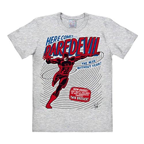 devil T-Shirt Herren - grau-meliert - Lizenziertes Originaldesign - LOGOSHIRT, Größe L (Marvel's Daredevil Kostüm)
