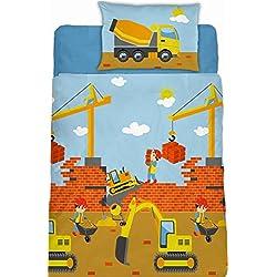 Aminata Kids Fein-Biber-Kinder-Bettwäsche 100-x-135 cm Bagger BAU-Fahrzeuge Auto-s Betonmischer Baby-Bettwäsche 100-% Baumwolle Renforce hell-blau Bunte grün gelb Junge-n Baustelle