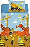 Aminata Kids - Fein-Biber Kinder-Bettwäsche 100-x-135 cm Bagger-Motiv BAU-Fahrzeuge Auto-s Betonmischer 100-% Baumwolle Renforce hell-blau-e grün-e gelb Baustelle