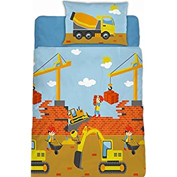 aminata kids biber kinderbettw sche 100x135 cm baustelle mit bagger kran und betonmischer. Black Bedroom Furniture Sets. Home Design Ideas
