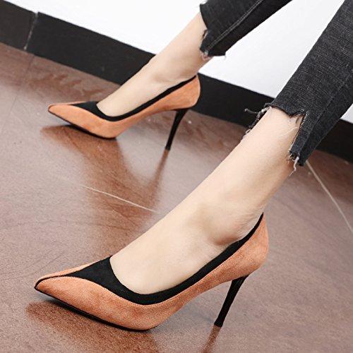 FLYRCX Personalità elegante farro tallone sottile ammenda tacco alto scarpe tacco ladies' party scarpe b