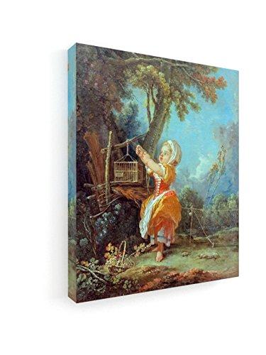 Francois Boucher - Kleiner Vogelfänger - Malerei - 50x60 cm - Premium Leinwandbild auf Keilrahmen -...