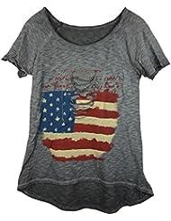 Damen T-Shirt mit Print und Pailetten in Used Look, MADE IN ITALY
