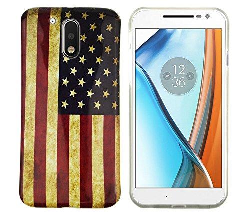 Motorola / Lenovo moto G4 Schutzhülle Case Cover Hülle aus festem Silikon (TPU) als perfekter Schutz (USA Flagge) (Klassische Texas-flagge)