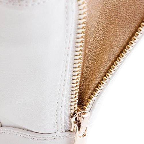 Damen Schlupf Stiefeletten Boots in Lederoptik mit Reißverschluss Weiß Glattlederoptik