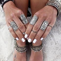 reixus (TM) Bohemia Vintage joyería único para mujer chapado en plata tibetana anillo Set de 4Pcs/Set Conjuntos de Punk Boho anillo plateado joyería