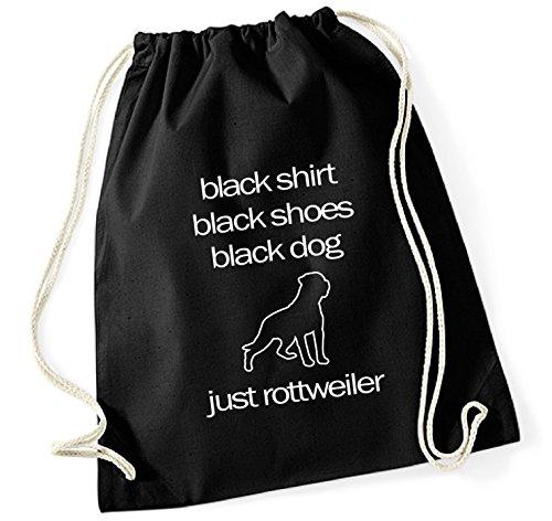 Turnbeutel - ROTTWEILER Schutzhund - BLACK DOG - Hund Hunde Baumwoll Tasche Beutel Siviwonder schwarz -