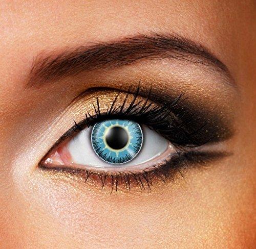 Funky Vision Kontaktlinsen Fusion - 3 Monatslinsen, Yellow Blue, Ohne Sehstärke, 1 Stück