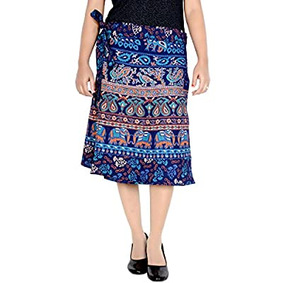 Skirt Ethnic Style Cotton Wrap Around Block Print Knee Length Skirt