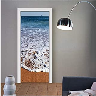 zhangshifa 3D Door Mural Wrap Glossy Bubble Free Sticker Architectural Carved Doors Peel and Stick Easy to Clean Beach Art Doors Sticker