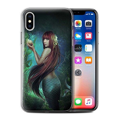 Officiel Elena Dudina Coque / Etui Gel TPU pour Apple iPhone X/10 / Sirène/Shell Design / Agua de Vida Collection Sirène/Shell