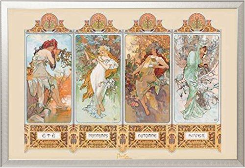 Mucha, Alphonse - 4 Seasons - Poster Kunst Gemälde Jugendstil 4 Jahreszeiten - Grösse 91,5x61 cm + Wechselrahmen, Shinsuke® Maxi Aluminium Silber, Acryl-Scheibe