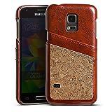 DeinDesign Samsung Galaxy S5 Mini Lederhülle Maroon Leder Case Leder Handyhülle Holz Look Kork