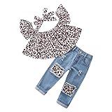 Trada 3PC Kinder Baby Mädchen Outfits Leopard Schulterfrei Tops + Loch Jeans + Stirnband Kleidung Kind Baumwolle Strampler T-Shirt + Hose Bodysuit Playsuit Set Sommer Babykleidung (90, Braun)