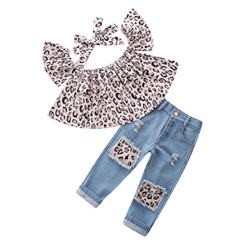 Trada 3PC Kinder Baby Mädchen Outfits Leopard Schulterfrei Tops + Loch Jeans + Stirnband Kleidung Kind Baumwolle Strampler T-shirt + Hose Bodysuit Playsuit Set Sommer Babykleidung (90, Braun) (Jeans Set Outfit Top)