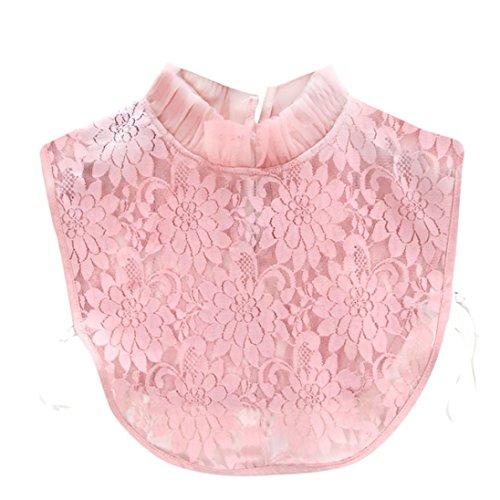 (OVERDOSE Damen Abnehmbar Kragen Falscher Kragen, Elegant Vintage Halbes Hemd Bluse Kragen Frauen floraler Spitze Strickerei Spitze Hemd Abnehmbare Kragen Pullover Decor(Pink,36CM))