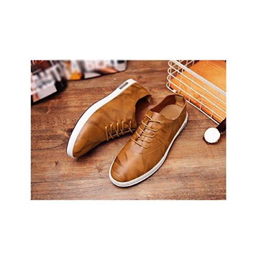 Lyzgf Hommes Printemps Et Automne Affaires Mode Occasionnel Pointé Laçage Chaussures En Cuir Jaune