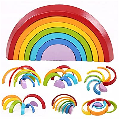 KINGSO Educational Toy Building Blocks, Grimm's Wooden Rainbow for Learning, Puzzle Toy Geometry Bricks (Rainbow)