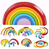 KINGSO Educational Toy Building Blocks, Grimm\'s Wooden Rainbow for Learning, Puzzle Toy Geometry Bricks (Rainbow)