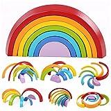 KING DO WAY Regenbogen Bunte Bausteine, Bogenbrücke Bausteine, Kinder Puzzle frühkindliche Bildung Spielzeug, Holzbausteine Spielzeug,7-teilig klein (Regenbogen Bunte)