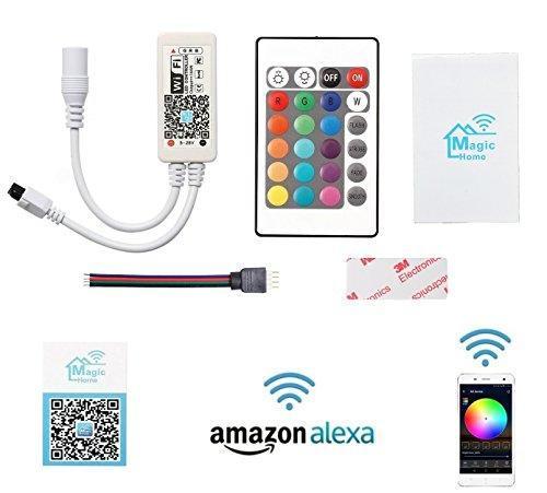 Cooligg LED Wifi Controller kompatibel mit Alexa Echo / Dot Voice Service und Android/ IOS App (Komplette Set), IR RF Remote Wlan Kontroller vom DE Händler 5V-28V 16 mio. Farben Dimmer Fernbedienung Fernsteuerung für alle 3528 5050 2835 led RGB Streifen Strips, Rechnung per Email (wifi Controller mit Alexa und App)