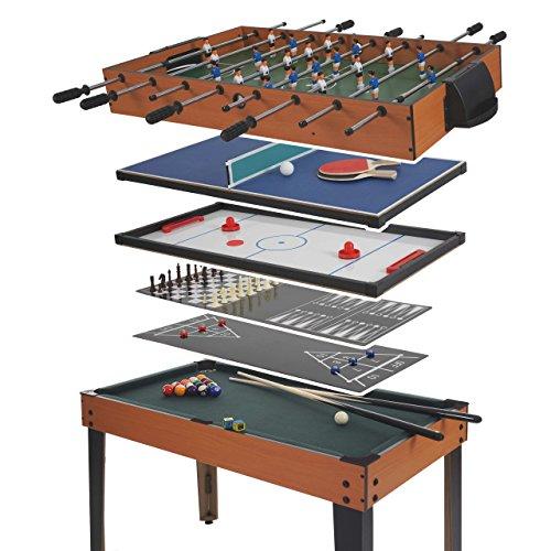 Mendler Tischkicker HWC-E12, Tischfussball Billard Hockey 7in1 Multiplayer Spieletisch, 82x107x60cm ~ Buche-Optik