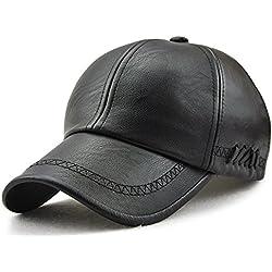 Roffatide Hombre Bordado Correas Suaves PU Gorra de Beisbol Sombrero Cuero Deportes al Aire Libre Otoño e Invierno Black