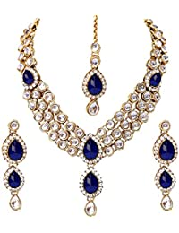 Shining Diva Kundan Traditional Necklace Jewellery Set with Earrings for Women  (Blue) (8408s)