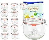 MamboCat 12er Set Weck Gläser 580ml Tulpengläser, 1/2L Sturzgläser mit 12 Glasdeckeln, 12 Einkochringen und 24 Klammern inkl. Gelierzauber Rezeptheft von Diamantzucker