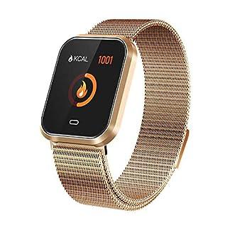 Febelle Reloj Inteligente Pulsera IP67 Impermeable Gimnasio Presión Arterial Oxígeno Ritmo Cardíaco Deportes Rastreador Compatible Android iOS Estilo de Acero