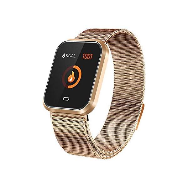 Febelle Reloj Inteligente Pulsera IP67 Impermeable Gimnasio Presión Arterial Oxígeno Ritmo Cardíaco Deportes Rastreador Compatible Android iOS Estilo de Acero Dorado 1