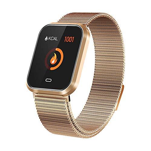 Febelle Reloj Inteligente Pulsera IP67 Impermeable Gimnasio Presión Arterial Oxígeno Ritmo Cardíaco Deportes Rastreador Compatible Android iOS Estilo de Acero Dorado