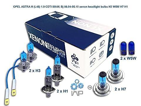 OPEL ASTRA H L48 1.9 CDTI 88kW, Bj 06.04-05.10 xenon headlight bulbs H3 W5W H7 H1