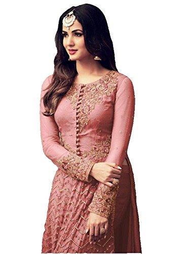 Mira Creation Women'sNet, Santoon & Nazneen FabricPinkEmbroidered Salwar Suit (Size : Free)