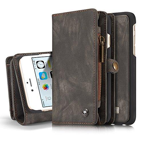 SAVYOU iPhone 6S Hülle, Abnehmbare magnetische Flip Wallet Leder Folio Slim Kartenhalter, mit Standfunktion, abnehmbare Hart PC TPU Back Cover für iPhone 6S/64,7Zoll CM008 - Black