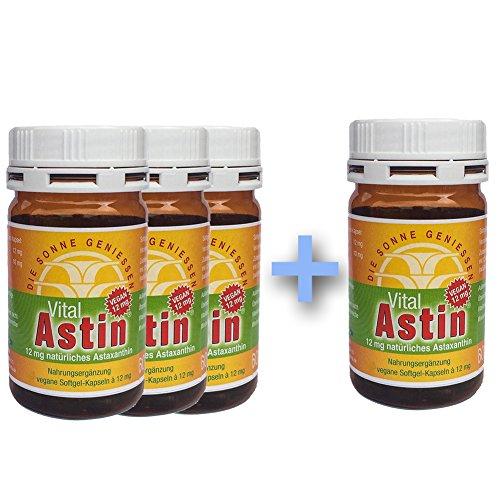 Astaxanthin - versandkostenfrei - 3+1 GRATIS VitalAstin vegan 100 Kapseln - Das Original Ivarssons VitalAstin mit 12 mg natürlichem Astaxanthin