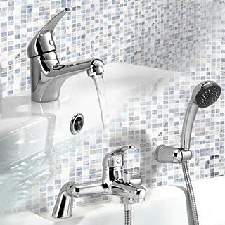 iBathUK Chrome Basin Sink Mixer Tap + Bath Filler Hand Held Shower Head Set TP114