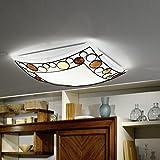 Deckenleuchte 40 x 40cm | Deckenlampe 2xE27 230V | Leuchte Glas weiß | Lampe mit farbigen Elementen inkl. Leuchtmittel