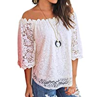 MIHOLL Women's Lace Off Shoulder Tops Casual Loose Blouse Shirts (White, X-Large)