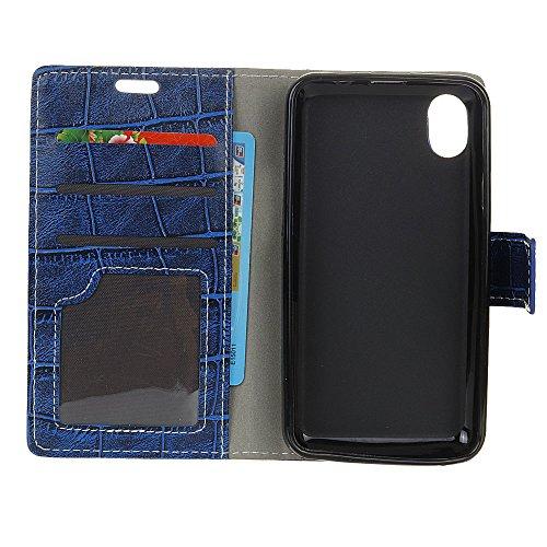 Meimeiwu Custodia iPhone 8 - PU di Lusso Portafoglio con Fessure di carta Cover Protettiva Per iPhone 8 - Nero Blu