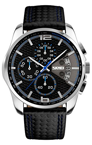 SKMEI-Herren-Sport-Armbanduhr-Leder-Analog-Quarz-Kalender-Chronograph-5ATM-wasserdicht-9106
