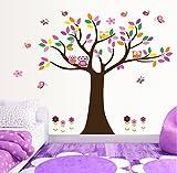UfingoDeco Árbol Colorido y Búhos Preciosos Pegatinas de Pared, Vivero Habitación de los Niños Removible Etiquetas de la pared / Murales