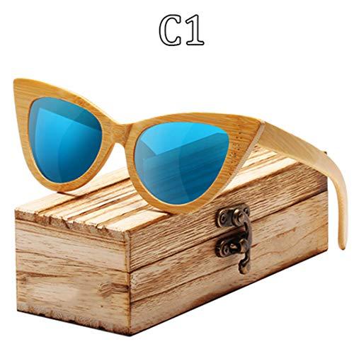 DAIYSNAFDN Holz Sonnenbrille Frauen Bambus Rahmen Cat Eye Stil Brille Polarisierte Gläser Brille Vintage C1