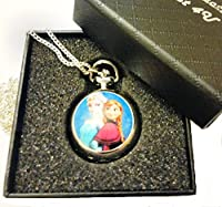 Frozen - Disney Princess Elsa and Anna Pocket Watch Necklace - Silver Plated Chain - GIFT BOXED WITH FREE SPARE BATTERY