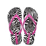 Hotmarzz Damen Zehentrenner Zebra Tier Sommer Strand Schuhe Sandalen Badeschuhe Flip Flops Size 36 EU / 37 CN