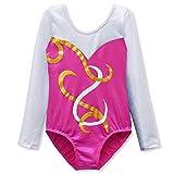 DAXIANG Leotards für Mädchen Gymnastik Langärmel Shinny Tanz Ballett athletische Kostüme Alter 2-10 (Rose, 150(9-10 Jahre))