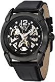 Stuhrling Original Leisure Axial Men's Automatic Watch with Black Dial Analogue Display and Black Leather Strap 725.01